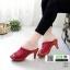 รองเท้าส้นสูงหน้าเต็ม พื้น pu หนังลื่นๆ 2303-แดง [สีแดง]