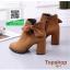 รองเท้าบูทส้นสูงสีแทน สไตล์เกาหลี หนังนิ่ม (สีแทน ) thumbnail 3