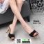 รองเท้าส้นสูงเปิดส้น ลายไม้ แต่งโบว์โบวฺ์ 3006-73A-BLK [สีดำ] thumbnail 1