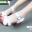 รองเท้าลำลองรัดส้น หนังนิ่ม ส้นไม้ 1630-WHI [สีขาว] thumbnail 2