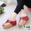 รองเท้าเตารีด เสริมส้นหูคีบ พื้นลายตาราง โลโก้ลาคอส 1108-แดง [สีแดง]