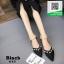 รองเท้าคัทชูส้นเตี้ยสีดำ หัวแหลม แต่งมุก (สีดำ ) thumbnail 4