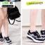 รองเท้าผ้าใบ แบบเสริมพื้นลายดอก W803-BLK [สีดำ] thumbnail 5