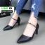 รองเท้าคัชชู หนังนิ่ม แบบเปิดข้าง B8-456-BLK [สีดำ] thumbnail 3