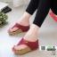 รองเท้าเตารีด เสริมส้นหูคีบ พื้นลายตาราง โลโก้ลาคอส 1108-แดง [สีแดง] thumbnail 2