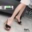 รองเท้าส้นสูงเปิดส้น ลายไม้ แต่งโบว์โบวฺ์ 3006-73A-BLK [สีดำ] thumbnail 3