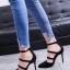 รองเท้าคัทชูหัวแหลม คาดหน้า 866-7-BLK [สีดำ]