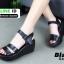 รองเท้า platform สไตล์เกาหลี G806-BLK [สีดำ] thumbnail 4