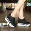 รองเท้าผ้าใบเสริมส้น หนัง pu ญี่ปุ่นกันฝุ่น A06-ดำ [สีดำ] thumbnail 1