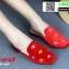 รองเท้าคัชชูหนังนิ่ม สไตล์แบรนด์ดัง ส้นทอง 2015-259-RED [สีแดง]