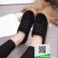 รองเท้าผ้าใบแฟชั่นสีดำ หนังกลับ (สีดำ ) thumbnail 2