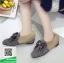 รองเท้าคัทชูแฟชั่น สไตล์เกาหลี ทรงหัวตัด แต่งโบว์เพชร (สีดำ ) thumbnail 3