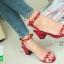 รองเท้าส้นตันรัดข้อสีน้ำตาล Rockstud Slingback Sandals (สีแดง ) thumbnail 2