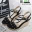 รองเท้าส้นเตารีดสวยเกร๋ 15198-BLACK [สีดำ] thumbnail 1