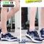 รองเท้าผ้าใบ แบบเสริมพื้นลายดอก W803-DBLU [สีน้ำเงินเข้ม] thumbnail 4