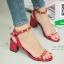 รองเท้าส้นตันรัดข้อสีน้ำตาล Rockstud Slingback Sandals (สีแดง ) thumbnail 1