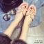 รองเท้าแตะเปิดส้น สไตล์ H ฉลุลาย G-1415-PNK (สีชมพู) thumbnail 3