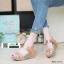 รองเท้าส้นเตารีดรัดส้น สายคาดแถบเมจิกเทป M1867-CRE [สีครีม] thumbnail 1