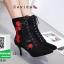 รองเท้าบูทส้นเข็มสีดำ แบบผูกเชือก สไตล์เกาหลี (สีดำ ) thumbnail 4