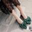 งานเกาหลี รองเท้าส้นสูงแบบสวม เปิดท้าย ด้านหน้าทรงวี G-1467-GRN [สีเขียว] thumbnail 1
