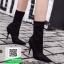 รองเท้าบูทส้นเข็มสีดำ ผ้าซาติน ยืดหยุ่น (สีดำ ) thumbnail 3