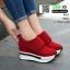 รองเท้าผ้าใบเสริมส้น หนัง pu ญี่ปุ่นกันฝุ่น A06-แดง [สีแดง] thumbnail 2