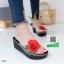 รองเท้าส้นเตารีดสีดำ แต่งดอกกุหลาบสีแดง (สีดำ ) thumbnail 1