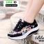 รองเท้าผ้าใบ แบบเสริมพื้นลายดอก W803-BLK [สีดำ] thumbnail 2