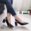 รองเท้าส้นสูง หน้าเรียว ทรงแมกซี่เก๋ 10168-ดำ [สีดำ] thumbnail 1