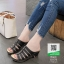 รองเท้าเพื่อสุขภาพส้นเตารีด หนังPU 10179-ดำ [สีดำ] thumbnail 1