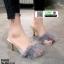 รองเท้าส้นสูงแบบสวมขนเฟอร์ ST6191-GRA [สีเทา]