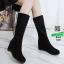 รองเท้าบู้ท แบบสั้น งานสวยใส่ดี พื้นเตารีดสามแบบสาวเกาหลี 6601-ดำ [สีดำ] thumbnail 2