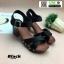 รองเท้าลำลองรัดส้น หนังนิ่ม ส้นไม้ 1630-BLK [สีดำ] thumbnail 5