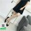 รองเท้าคัทชูส้นสูงสีดำ หัวแหลม ผ้าซาติน (สีดำ ) thumbnail 2