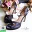 รองเท้าส้นสูงรัดส้น ผ้าซาติน เปิดหน้าเท้า (สีดำ ) thumbnail 2