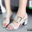 รองเท้าส้นตันรัดส้นสีเทา แต่งอะไหล่เข็มขัด (สีเทา ) thumbnail 4