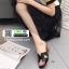 รองเท้าแตะสไตล์H ส้นเหลี่ยม J331-ดำ [สีดำ] thumbnail 3