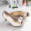 รองเท้าคัชชูส้นสูงเปิดหน้า แต่งโบว์ 2845-GOLD [สีทอง] thumbnail 1