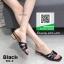 รองเท้าแตะแฟชั่นสีดำ Style Ysl หนังเงานิ่ม (สีดำ ) thumbnail 2