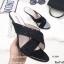 รองเท้าส้นสูง หน้าไขว้ กากเพรช 17-2291-ดำ [สีดำ] thumbnail 5
