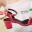 รองเท้าส้นตันรัดข้อสีน้ำตาล Rockstud Slingback Sandals (สีแดง ) thumbnail 3