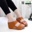 รองเท้าเตารีด Wedge shoe 2 ตอนหุ้มส้น 1146-น้ำตาล [สีน้ำตาล] thumbnail 2