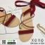 รองเท้าแตะสายคาดไขว้ หนังสักราจ G-1264-RED [สีแดง] thumbnail 3