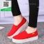 รองเท้าผ้าใบแฟชั่นสีแดง พื้นยางผสมกลิ่นหอมของดอกไม้ (สีแดง ) thumbnail 1