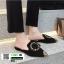 รองเท้าหัวแหลมเปิดส้น หนังชามัวร์นิ่ม 018-BLK [สีดำ] thumbnail 4