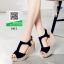 รองเท้าส้นเตารีดรัดส้นสีดำ T-Stap (สีดำ )