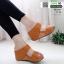 รองเท้าเตารีด Wedge shoe 2 ตอนหุ้มส้น 1146-น้ำตาล [สีน้ำตาล] thumbnail 1