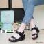 รองเท้าส้นเตารีดรัดส้น สายคาดแถบเมจิกเทป M1867-BLK [สีดำ] thumbnail 1