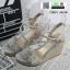 รองเท้าส้นเตารีดสวยเกร๋ 15198-GRAY [สีเทา]