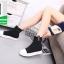 รองเท้าผ้าใบหุ้มข้อสีดำ ผ้าไหมพรม (สีดำ ) thumbnail 2